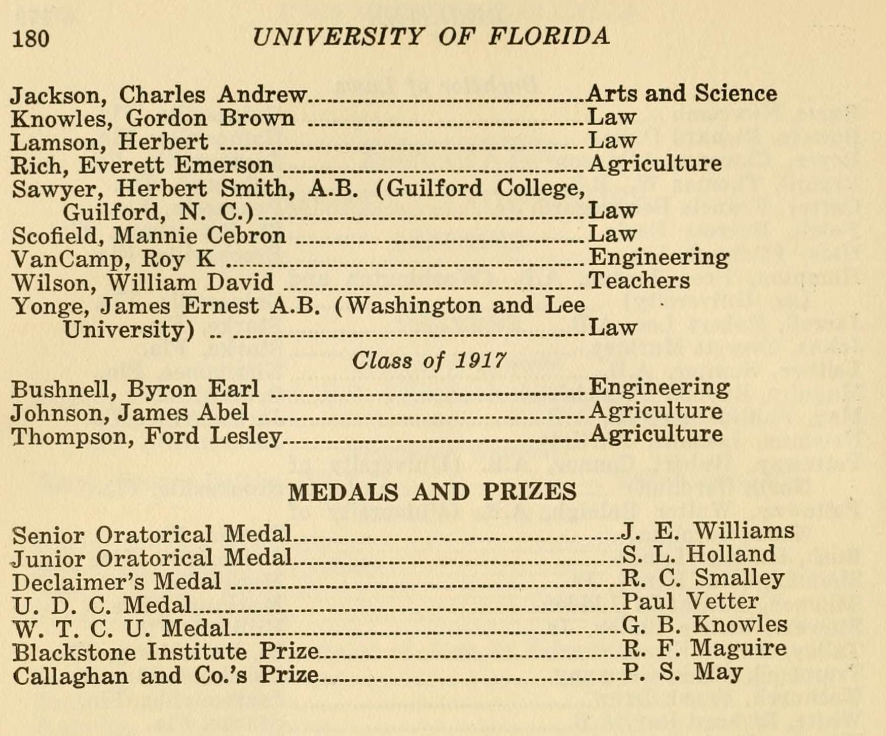 Uf and the great war academics senior certificate phi kappa phi class of 1917 college of agriculture university of florida catalog 1915 1916 aiddatafo Images